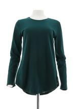 Isaac Mizrahi TRUE DENIM Slub Knit Tunic Plaid Corduroy Back Green S NEW... - $27.70