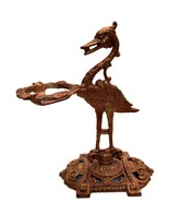 Cast Iron Bird Ashtray Holder Rare Antique Tabletop Stand Art Deco 10 in... - $221.76