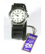 New Vintage Casio MD 748 Stainless Steel White Face Rubber Band Mens Wat... - $88.54