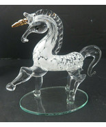 Vintage Pier 1 Imports Unicorn Handcrafted Clear Glass & Golden Horn Fig... - $29.00