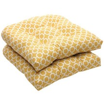 Pillow Perfect Indoor/Outdoor Yellow/White Geometric Wicker Seat Cushion... - £30.08 GBP