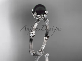 Unique engagement ring, 14k white gold Tahitian Black Pearl vine and lea... - $795.00