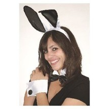 Sexy Deluxe Play Boy Naughty Bunny 5 Pc Costume Set Black White Ears Cuf... - $14.24