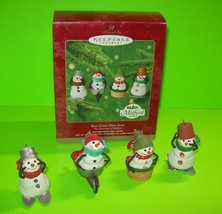 Set of 4 Snowmen Christmas Ornaments Hallmark Keepsake Mitford Race Down Main St - $9.85