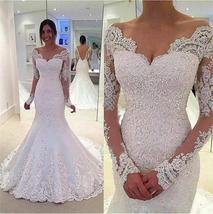 Mermaid V Neck Illusion Long Sleeve Applique V Back White Lace Wedding Dress - $165.00