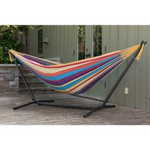9 ft. Double Cotton Hammock with Stand in Tropical - $108.96