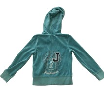 Juicy Couture Girls Blue Velour Zipper Hoodie Track Jacket Sz S 4/5 - $11.88