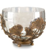 Bowl JOHN-RICHARD Ginkgo Leaves Mercury Glass Brass New - $819.00