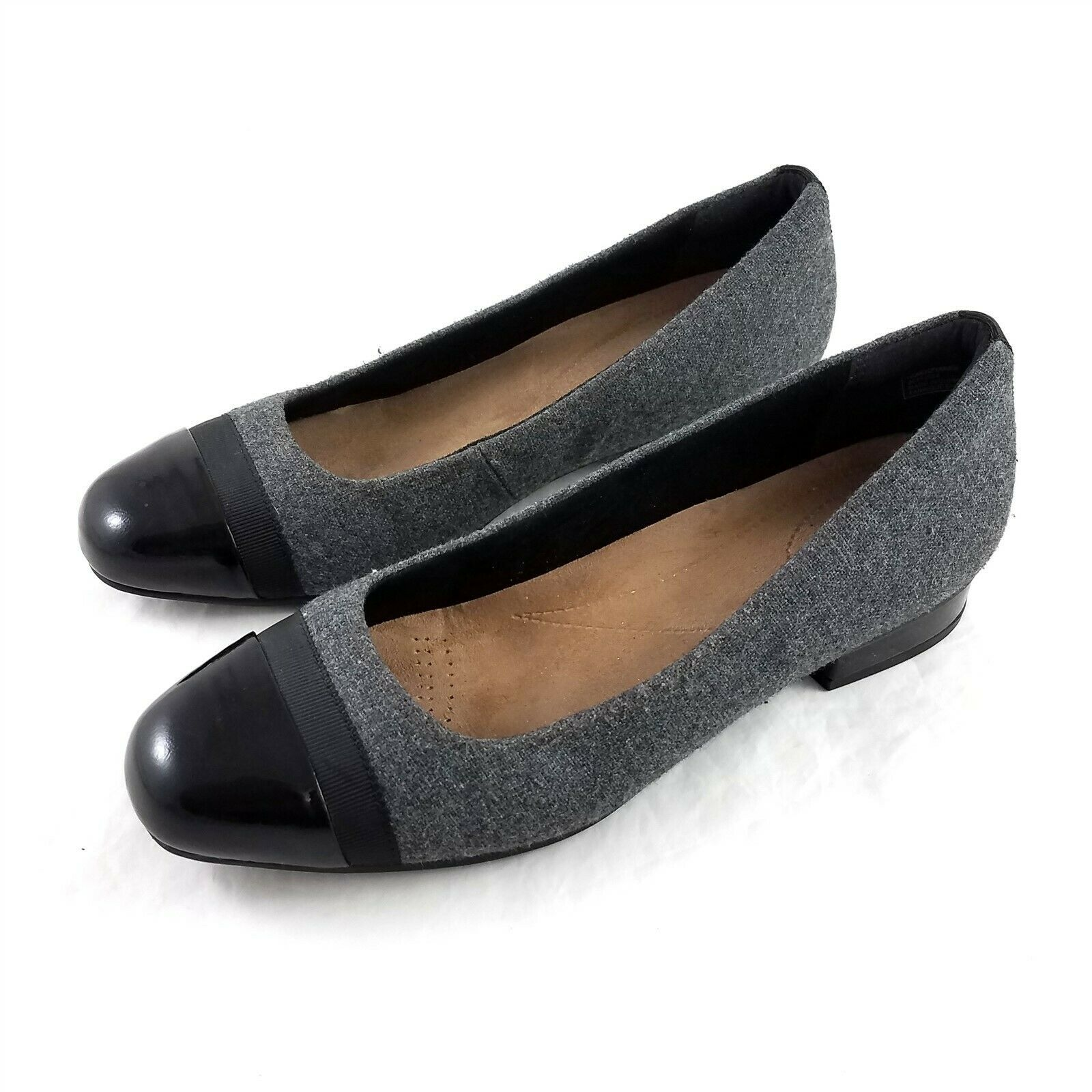 Primary image for Clarks Artisan Gray Wool Black Cap Toe Ballet Flats Shoes Womens 8.5 M
