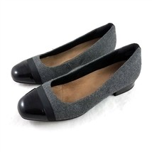 Clarks Artisan Gray Wool Black Cap Toe Ballet Flats Shoes Womens 8.5 M - $39.50
