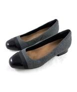 Clarks Artisan Gray Wool Black Cap Toe Ballet Flats Shoes Womens 8.5 M - $39.50