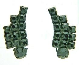 Black Glass Rhinestone Japanned Firework Clip Vintage Earrings - $19.79