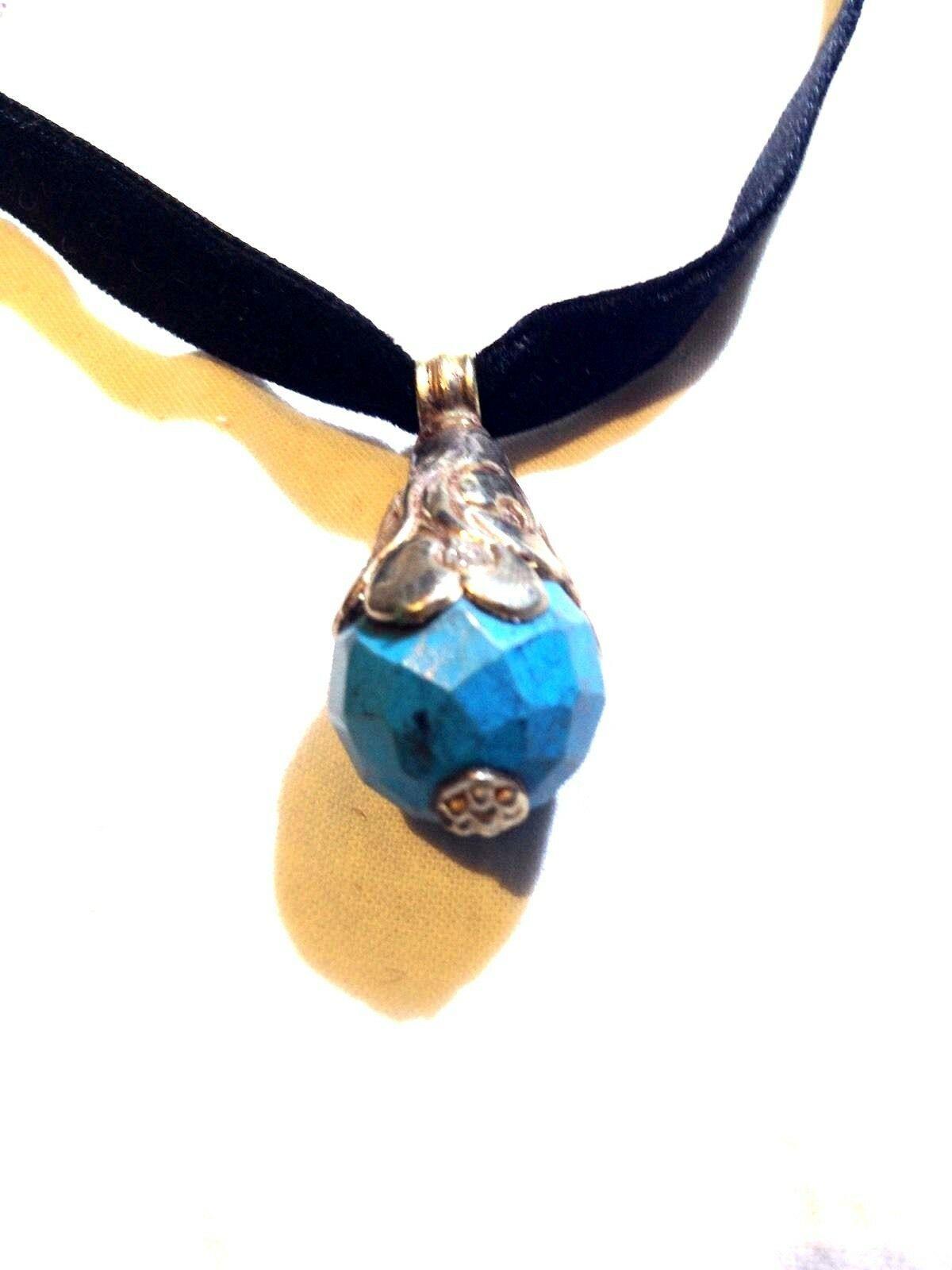 Bronce Vintage Reposo Original Tíbet Facetado Turquesa Collar con Colgante