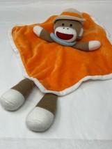 Baby Starters Sock Monkey Plush Lovey Orange Security Blanket Rattle Tan... - $15.00