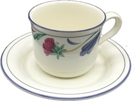 Flat Cup & Saucer Set Poppies On Blue by LENOX 8oz Tea Cup Set of 4 - $49.99