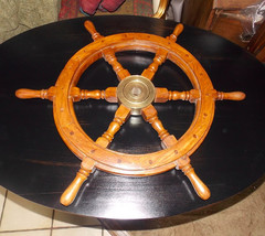 Teak Ship Helm Wheel / Wall Decor - $149.00