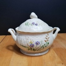 Mikasa Margaux Sugar Bowl with Lid Ivory Weave Trim Rust Yellow Floral - $11.88