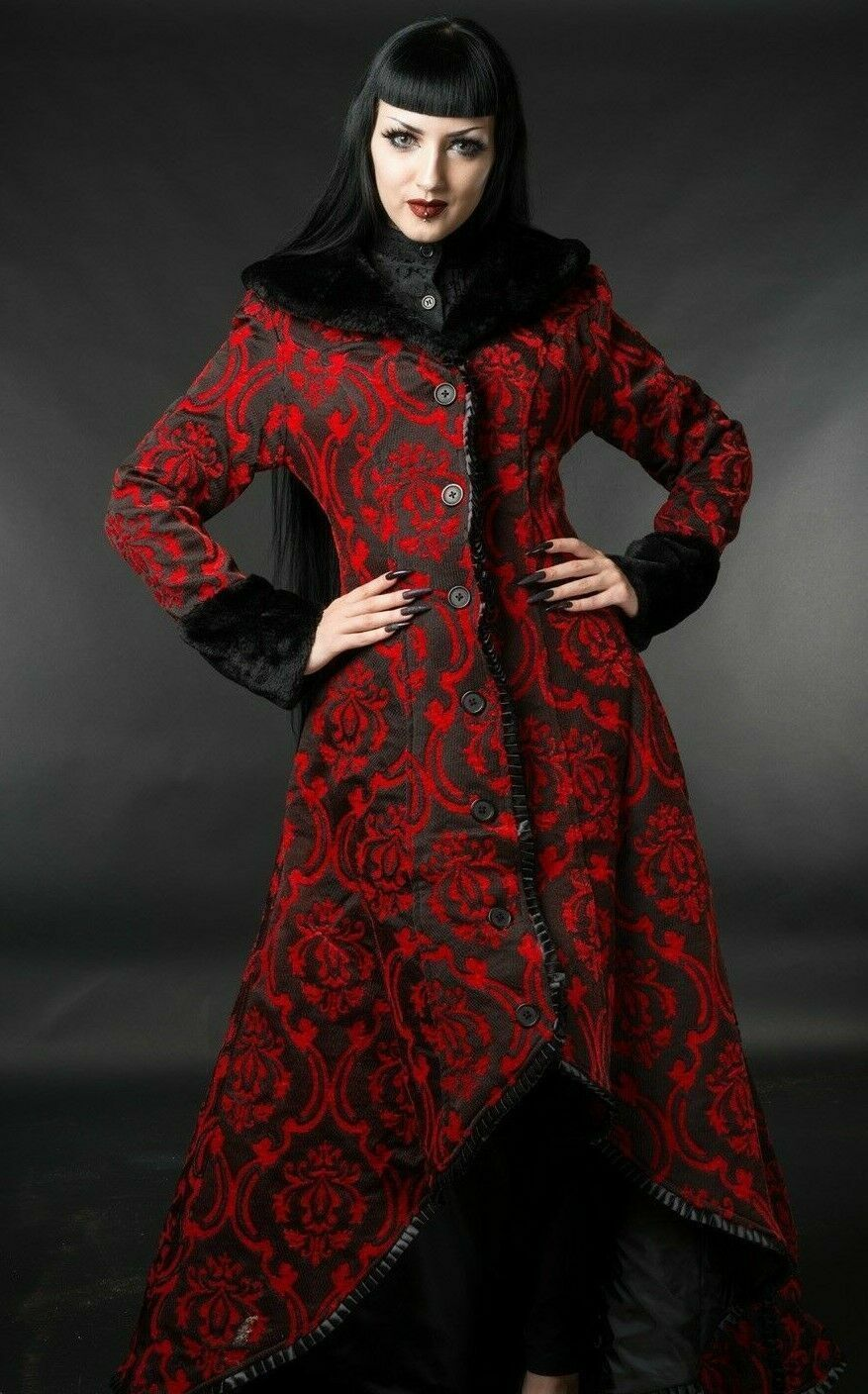 Primary image for Women's Red Black Brocade Gothic Victorian Fall Winter Long Steampunk Coat