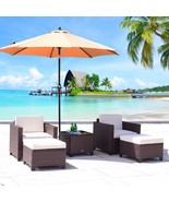 5 PC Wicker Rattan Chair Sofa Cushioned Patio Lawn Sectional Ottoman Set... - $319.98