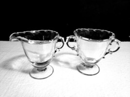"""Vintage Fostoria CENTURY Stem #2630 Footed 4"""" Creamer & 4"""" Open Sugar Set - $12.86"""