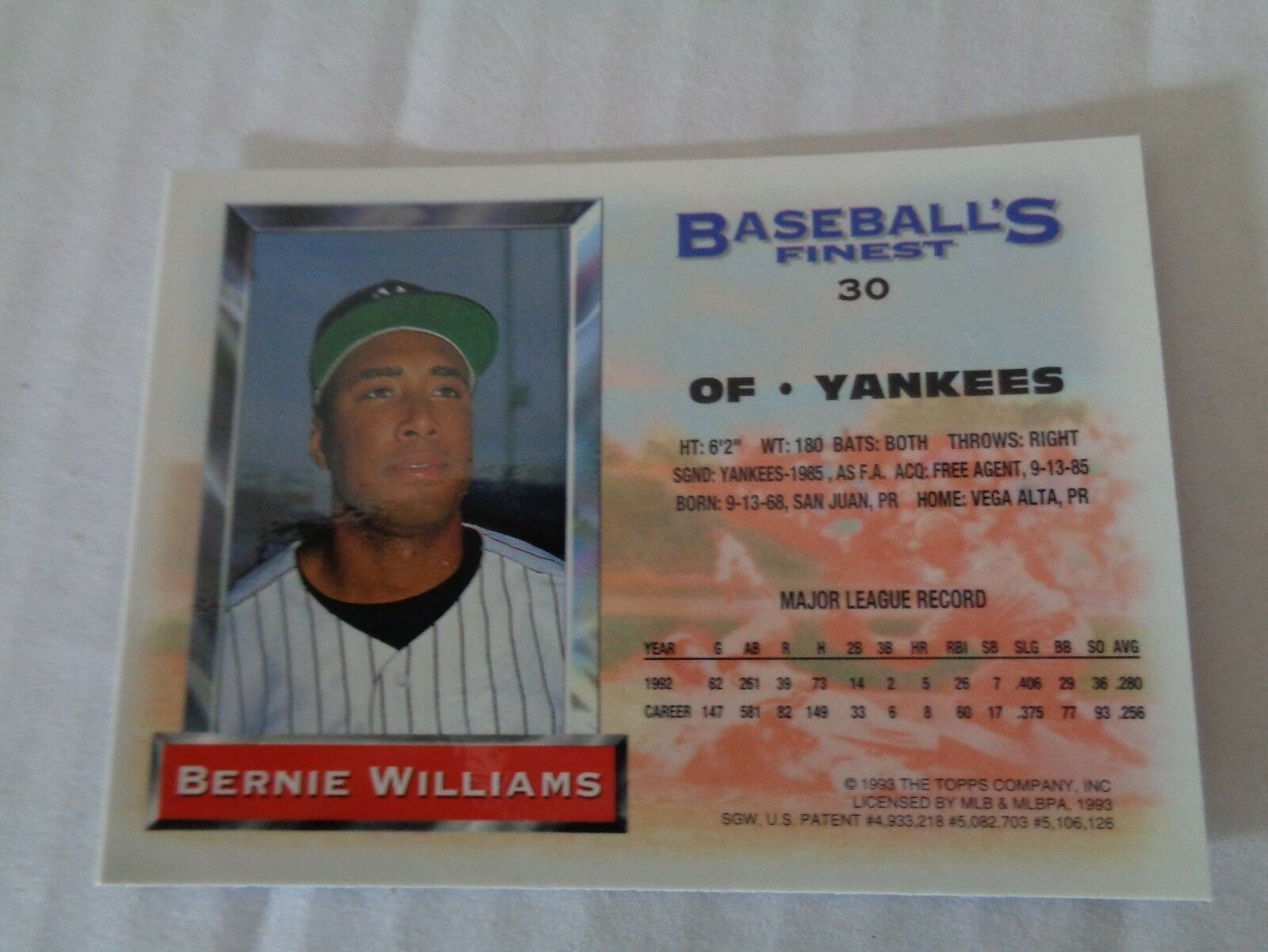 Bernie Williams 1993 Topps Finest Baseball Card #30 NY Yankees NM/M Condition image 3