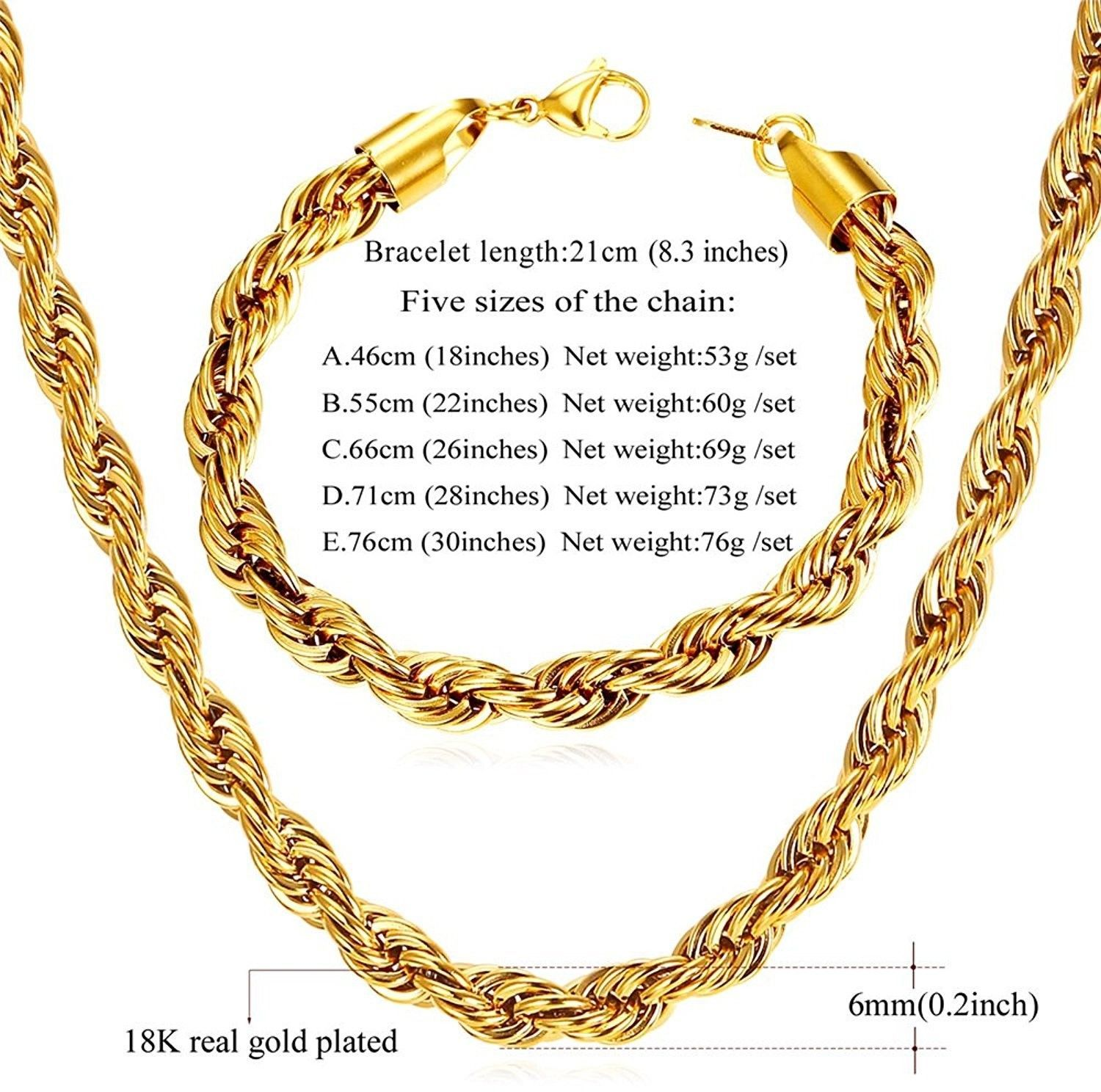 f1d7db8a39b9a U7 Rope Chain 6mm Wide 18K Gold Plated and 50 similar items