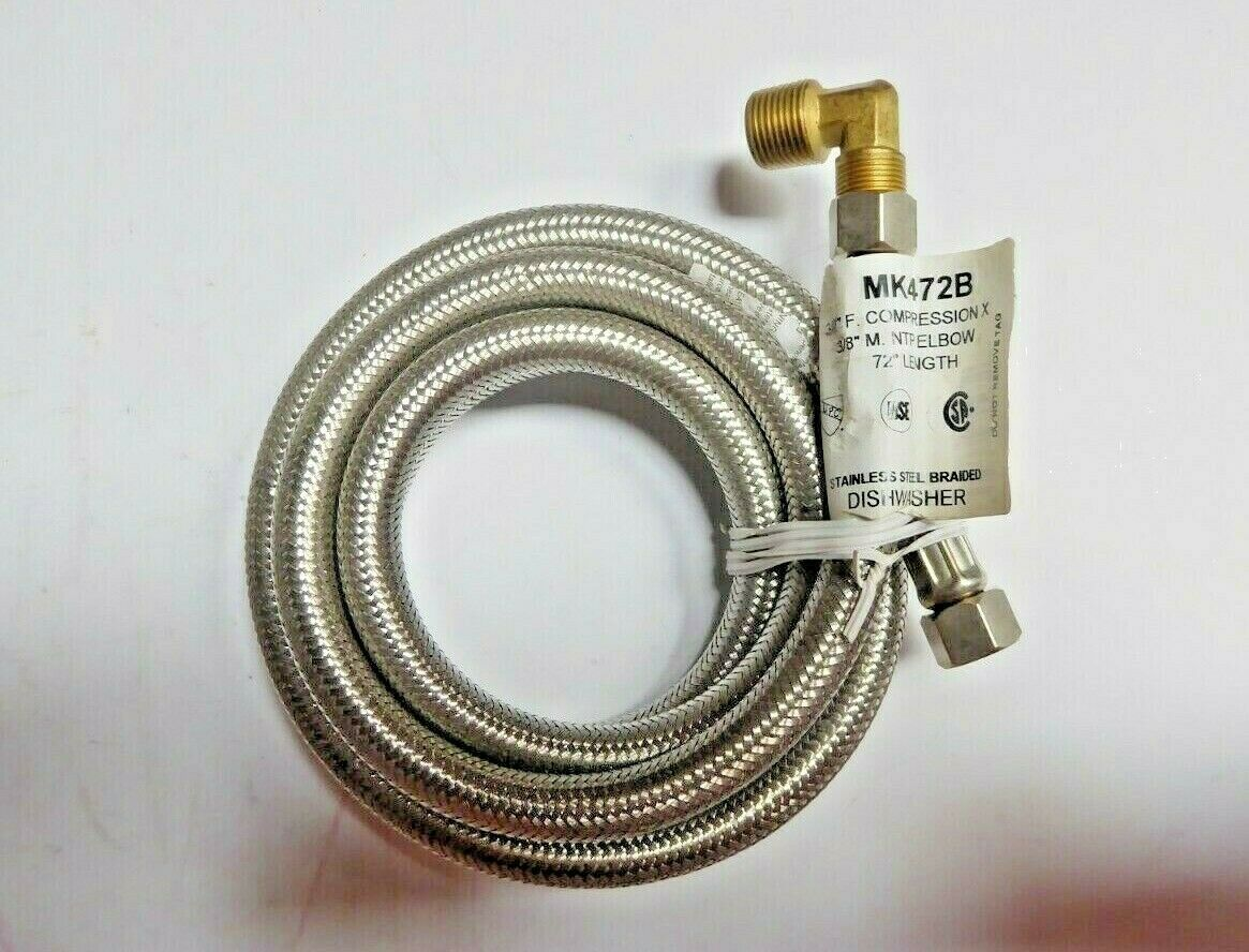 """Dishwasher MK472B Stainless Steel Braided Connector 3/8"""" Pack of 2 New"""