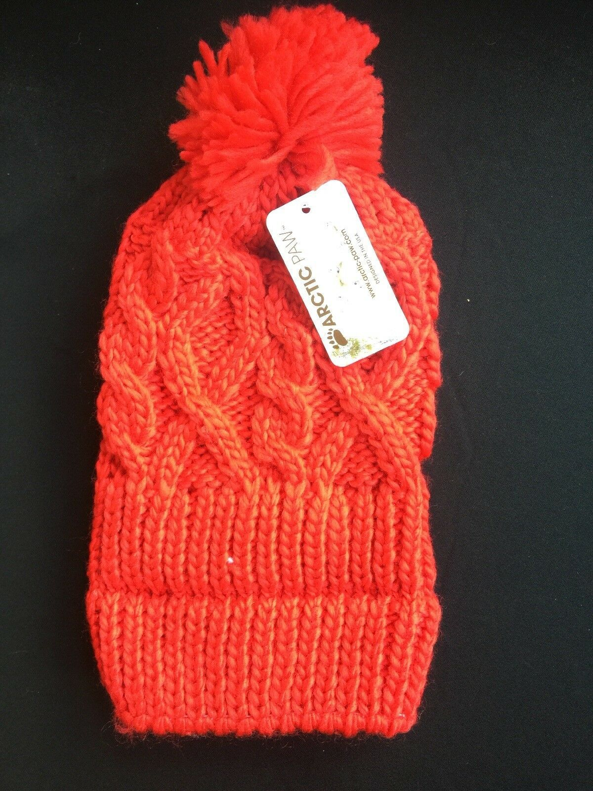 ARCTIC Paw Chunky Cable Knit Beanie with Yarn Pompom - Red - Kids