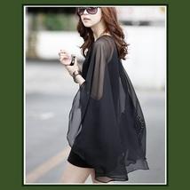 Sheer Flowing Chiffon Draped Cape on Black Sleeveless Mini Sheath Dress  image 2