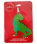 Hallmark Green T-Rex Metal Ornament Christmas Auto Accessory Gift Tag Dinosaur - $9.29