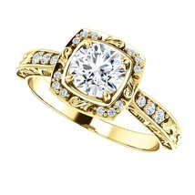 0.50 Carat Ideal Cut Diamond Solitaire Halo Ring in 14k Gold  - $799.00