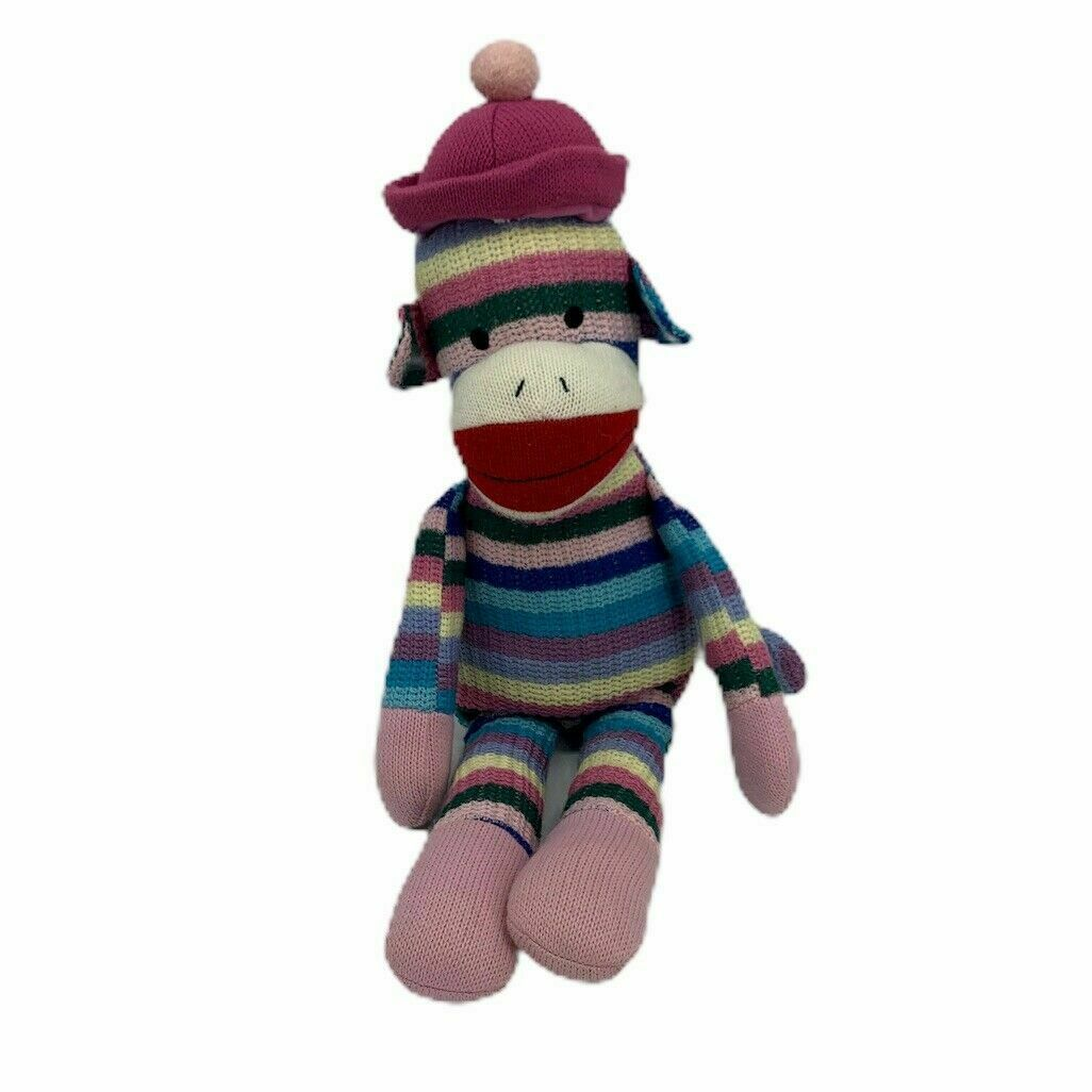 "Primary image for Toys R US Rainbow Striped Sock Monkey Knit Plush Stuffed Toy with Hat 20"" TM"
