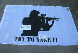 "Flag 3X5 3'X5"" 90X150 cm White Try and take it - $9.90"