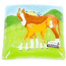 Fused Art Glass Mare & Foal Horse Farm Country Design Soap Dish Handmade Ecuador image 2