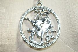 Vintage Silver Tone Zodiac Horoscope Taurus Large Pendant Necklace - $19.80