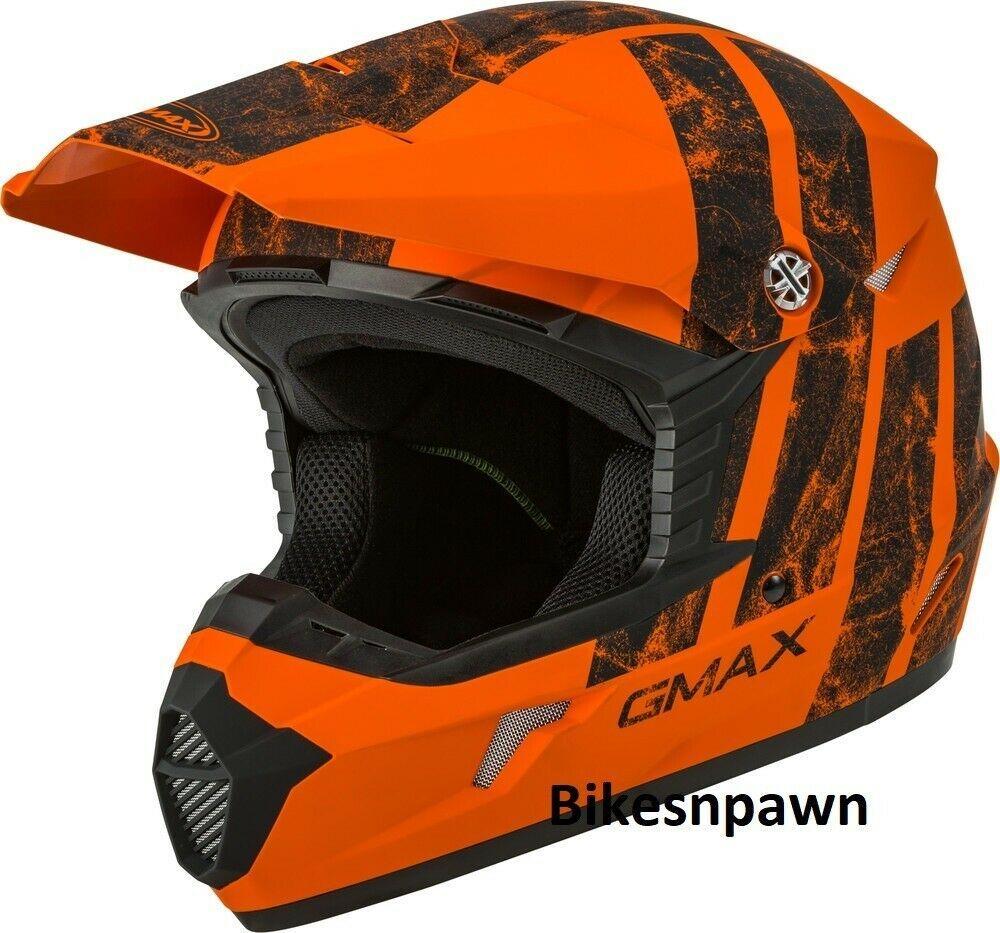 New Youth M Gmax GM46 Dominant Matte Orange/Black Offroad Helmet DOT