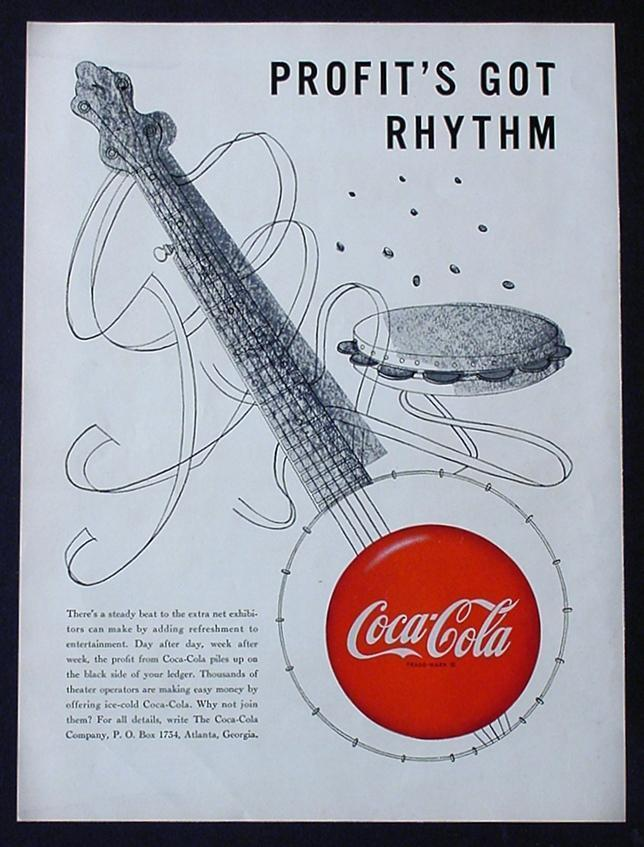 "MEGA RARE 1950 COKE COCA-COLA AD! 9"" x 12"" PROMOTIONAL ADVERTISEMENT MUSIC THEME"