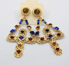 luxury crystal jewely women baroque drop earrings cross gold color dangl... - $12.90