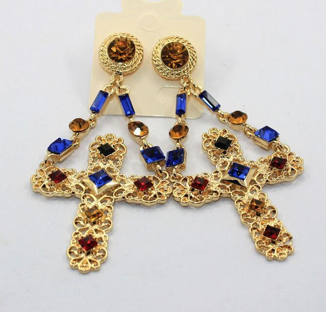Xury crystal jewely women baroque drop earrings cross gold color dangle earrings for women patry