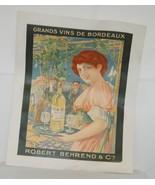 Grand Vins De Bordeaux Robert Behrend Cie Vintage French Poster - $150.99