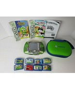 LeapFrog Leapster Learning Game System Green 20200 w/ 8 Games & Case WORKS - $47.51