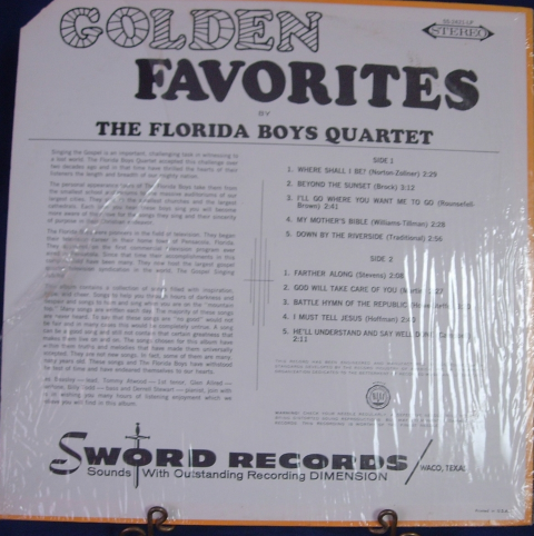 Golden Favorites with the FLORIDA BOYS - Sword Records SS-2421