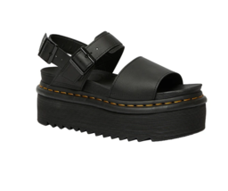 Dr. Martens Women Voss Quad Leather Platform Black Fashion Sandals Size ... - $149.99