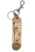 New Good Wood Statue of Liberty New York 4 Inch Mini Wooden Skateboard Keychain