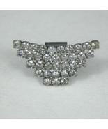 Dress Clip Silvertone 1 In Fur Scarf Pin Fashion Rhinestones Jewelry Tri... - $14.84