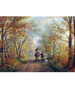 Landscape forest trees autumn leaves horse people by Edward Lamson Henry... - $74.91
