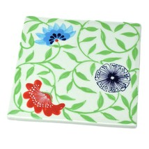 Trivet Hot Pad Ceramic Exotic Flower Design Hand Painted Kitchenware  - $21.29