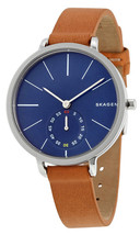 NEW SKAGEN SKW2355 GENUINE LEATHER BAND BLUE DIAL WATCH - $164.55