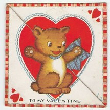 Vintage Valentine Card Bear in Blue Bow 1920's Die-Cut for Child - $7.91