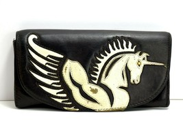 Blush Blush Vintage Womens Leather Wallet with Magnetic Closure Black - $36.33